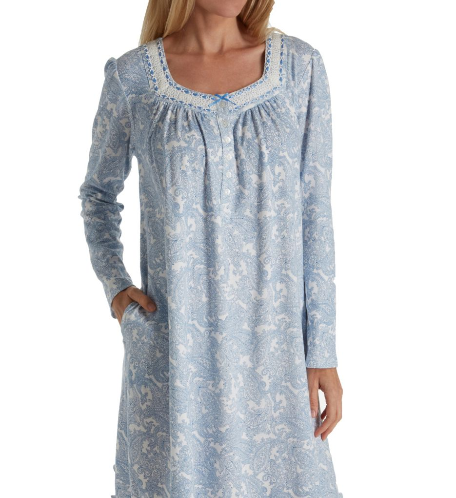 Aria Blue Serenity Long Sleeve Short Nightgown 8017810