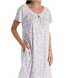 Aria Daisy Purple Cotton Jersey Short Sleeve Short Gown 802193B