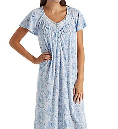 Aria Blue Charm Short Sleeve Ballet Long Nightgown 8217812