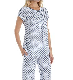 Aria Blue Print Short Sleeve Long PJ Set 8817837