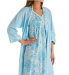 Aria Breeze Cotton Jersey Travel Robe & Chemise Set 8821928