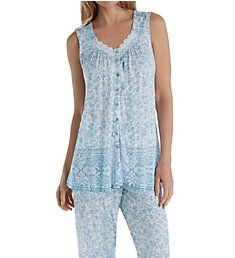 Aria Blue Afternoon Sleeveless Capri PJ Set 8917845