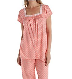 Aria Blooming Floral Short Sleeve Capri PJ Set 8917846