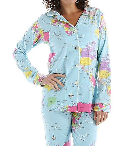 BedHead Pajamas Around The World Long Sleeve Classic PJ Set 2457