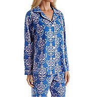 BedHead Pajamas Navy Painted Damask Long Sleeve PJ Set 2950