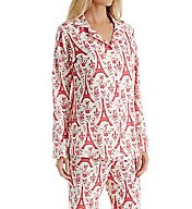 BedHead Pajamas Poinsettia Eiffel Long Sleeve PJ Set 2996