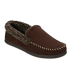 Dearfoams Microfiber Suede Moc Slipper With Memory Foam 80202
