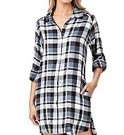 DKNY Checked In Long Sleeve Sleepshirt 2319263
