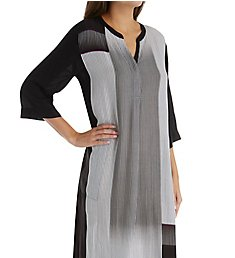 Donna Karan Sleepwear Black Stripe Maxi Sleepshirt D216924