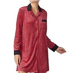 Donna Karan Sleepwear Satin Trim Velour Sleepshirt D236937