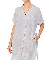 Donna Karan Sleepwear Seersucker Stripe Maxi Sleepshirt D317301