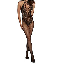 Dreamgirl Fishnet Bodystocking with Lace Teddy Design 0326