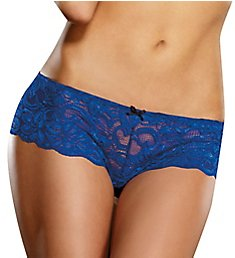 Dreamgirl Stretch Lace Crotchless Overlap Satin Bow Panty 7177