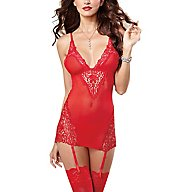 Dreamgirl Lace And Mesh Garter Chemise With Thong 9670