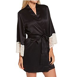 Flora Nikrooz Kit Matte Charmeuse Wrap Robe with Lace T90482