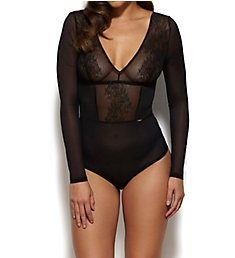 Gossard Glossies Lace Sheer Long Sleeve Bodysuit 13009