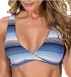 Guria Beachwear Blue Ombre Stripes Strappy Back Sporty Swim Top T5903P