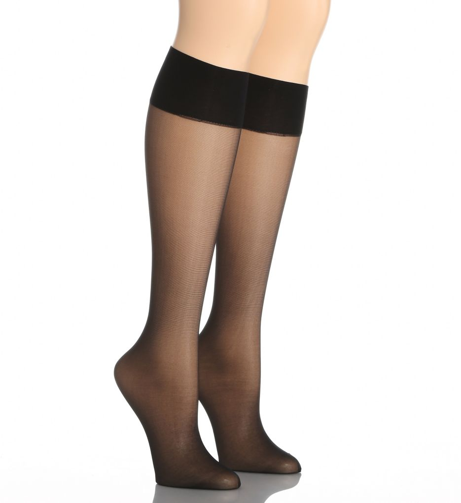 Hue Silky Sheer Knee Hi Trouser Socks - 2 Pack 12222