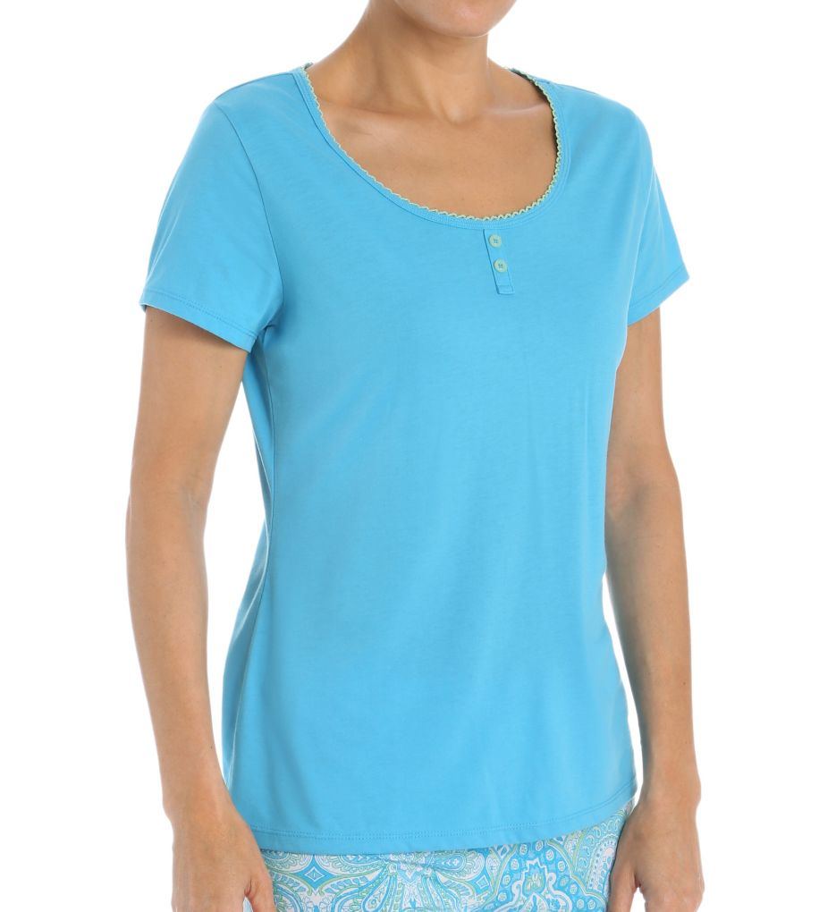 Jockey Enchanted Spring Solid Short Sleeve Henley Top 336961