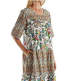 La Cera 100% Cotton Woven Short Sleeve Lounge Dress 2209