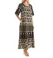 La Cera 100% Cotton Ankle Length Lounge Dress with Pockets 2209A