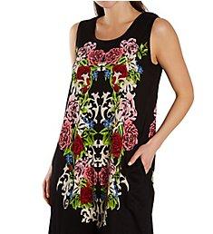 La Cera Cotton Knit Abstract Floral Print Dress 2525