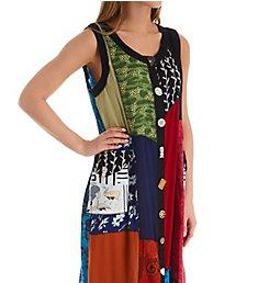 La Cera Button Front Patchwork Rayon Lounge Dress 2746