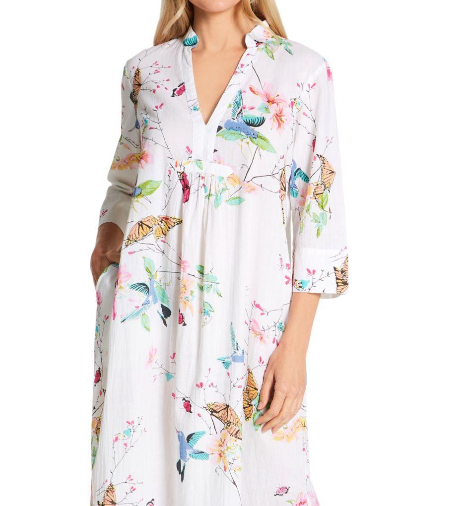 La Cera 100% Cotton Voile Lined Hummingbird Print Caftan 3055