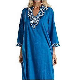 La Cera 100% Cotton Woven Embroidered Jacquard Caftan 3117
