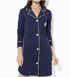 Lauren Ralph Lauren Sleepwear Hammond Knits Long Sleeve Notch Collar Sleepshirt 811950