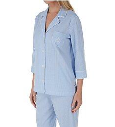 Lauren Ralph Lauren Sleepwear Heritage Knits 3/4 Sleeve Classic Capri PJ Set 819702