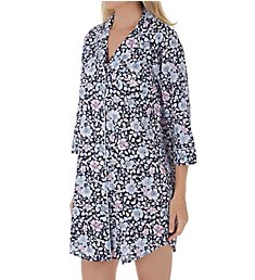 Lauren Ralph Lauren Sleepwear Classic Woven 3/4 Sleeve Notch Collar Sleepshirt LN31605
