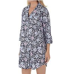 Lauren Ralph Lauren Sleepwear Classic Woven 3/4 Sleeve Notch Collar Sleepshirt LN31605