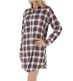 Lauren Ralph Lauren Sleepwear Brushed Twill Long Sleeve Button Front Sleepshirt LN31640