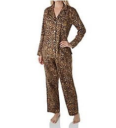 Lauren Ralph Lauren Sleepwear Sateen Long Sleeve Classic Notch Collar PJ Set LN91642