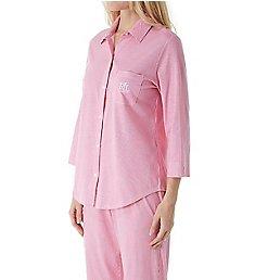 Lauren Ralph Lauren Sleepwear Classic Woven 3/4 Sleeve Capri Pant PJ Set N91531