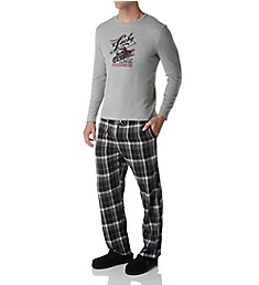 Lucky Long Sleeve Thermal & Flannel Pant Sleep Set 173LG04