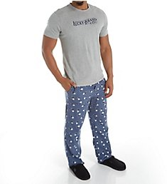 Lucky Cotton Jersey Tee & Flannel Pant Set 183LG09