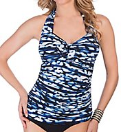 MagicSuit Blurred Lines Halter Neck Tankini Swim Top 367758