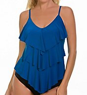 MagicSuit Solids Rita Soft Cup Ruffle Tankini Swim Top 6000144