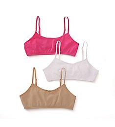Maidenform Girl Classic Cotton Crop Bralette - 3 Pack H2563
