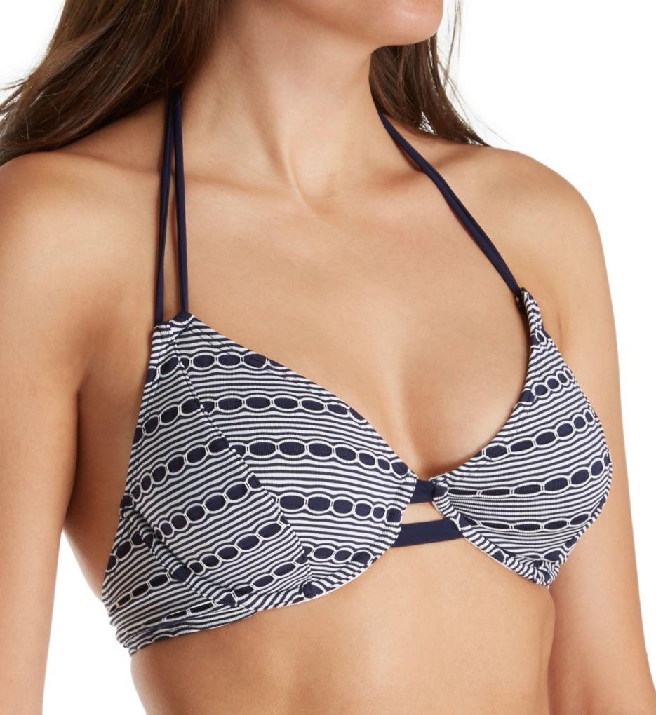 Miss Mandalay Cabana Underwire Halter Plunge Bikini Swim Top CAB01WUH
