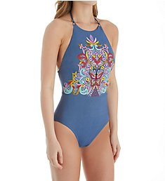 Nanette Lepore Dazed Denim Goddess High Neck One Piece Swimsuit NL8CC12