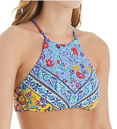 Nanette Lepore Woodstock Stargazer High Neck Bikini Swim Top NL8CE88