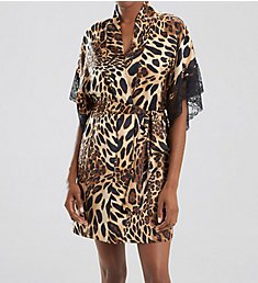 Natori Luxe Leopard Wrap With Lace H74154