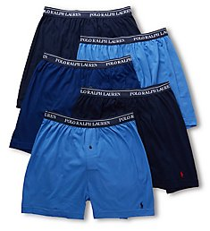 Polo Ralph Lauren Classic Fit 100% Cotton Knit Boxers - 5 Pack LCKBP5