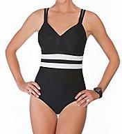 Reebok Fast Lane One-Piece Mesh Inset Swimsuit 780016