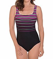Reebok Winning Streak Square Neck One Piece Swimsuit 780502