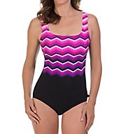 Reebok Thunderstruck Square Neck One Piece Swimsuit 780503