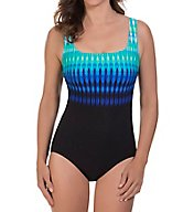 Reebok Trailblazer Stripe Square Neck One Piece Swimsuit 780507